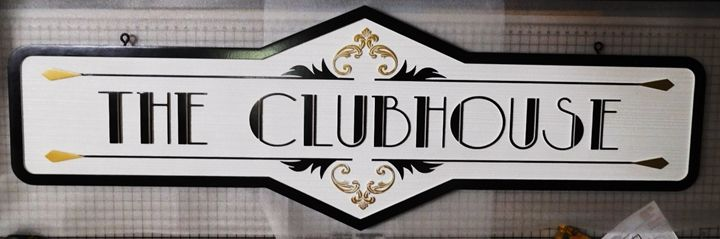"""KA20608 - Stylized and Ornate """"The Clubhouse"""" Hanging Sign, Carved on 2.5-D with Sandblasted Wood Grain Background"""