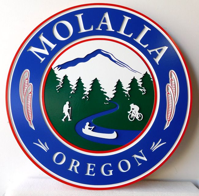 M22211 - Wall Plaque of the Seal/logo for Mollalla, Oregon,  with  Mountains, Trees , a Lake and Canoe