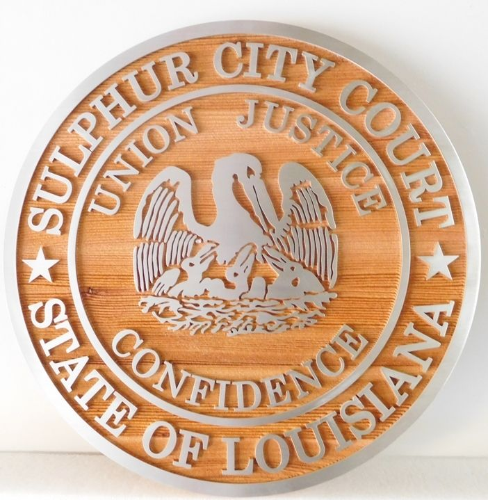 M3052 - Carved 2.5-D Cedar Wall Plaque  with Aluminum Overlays, made for Sulphur City Courthouse, Louisiana (Gallery 10, p 2 and Gallery 32)