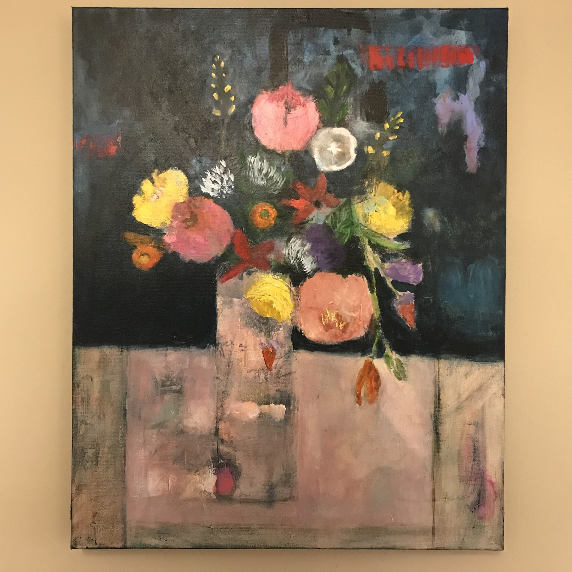 Vase of Flowers on Pink Table