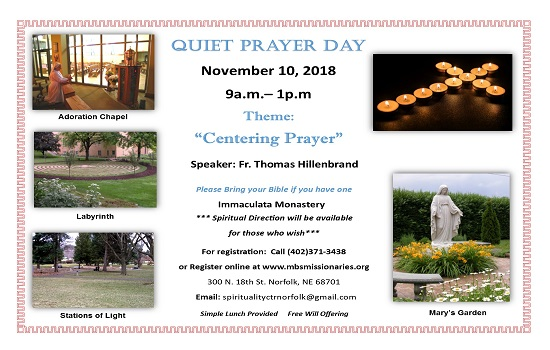 Quiet Prayer Day - November 10th
