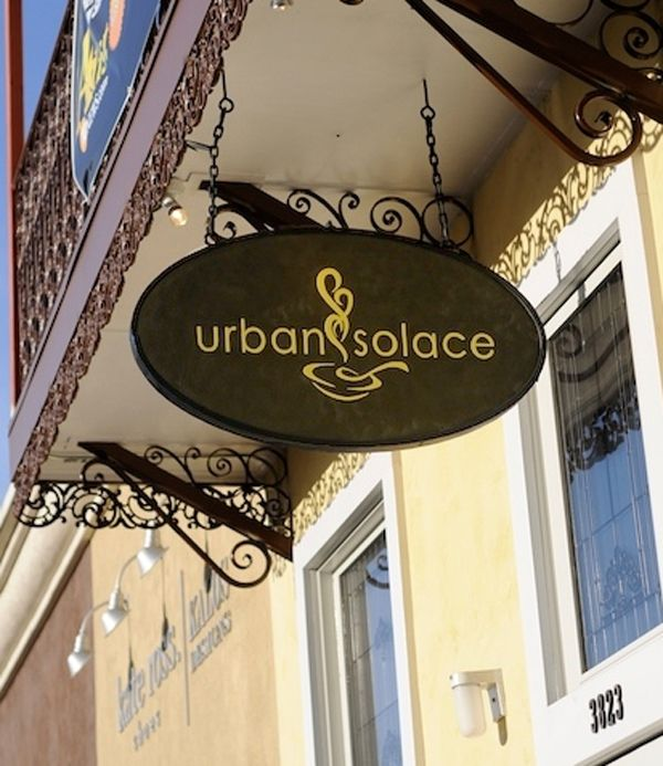 Q25410 Sandblasted, Carved HDU Sign for Urban Solace Coffee House Blade Sign with Decorative Wrought Iron Hanger