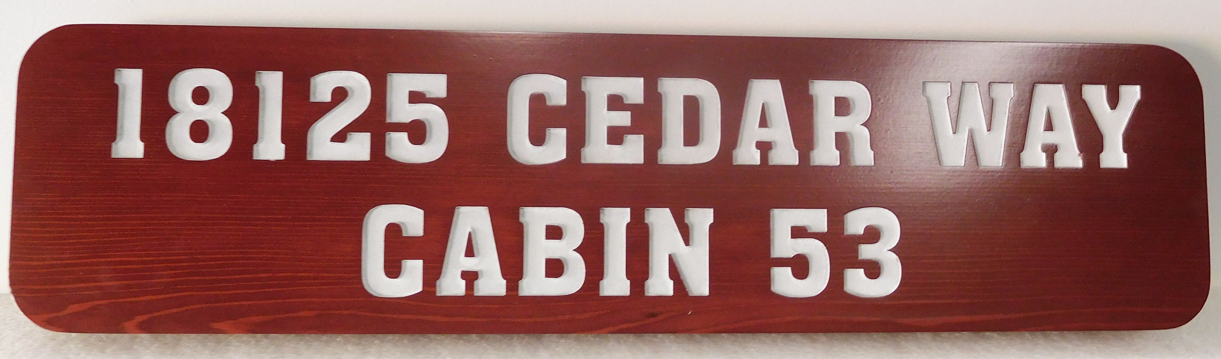 M22045- Engraved Cedar Wood Cabin  Address Sign