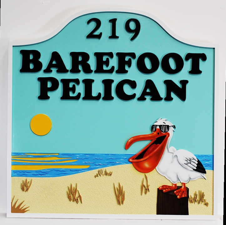 "M1238 - ""Barefoot Pelican"" Property Name and Address Sign"