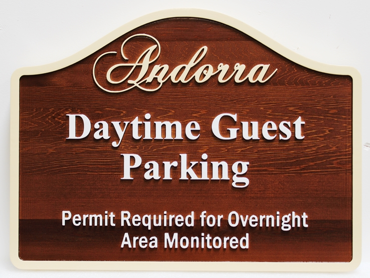 T29453 Carved Cedar Wood Daytime Guest Parking Sign for the Andorra Lodge