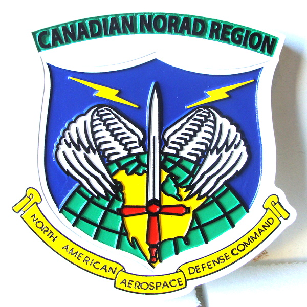 EP-1160  - Carved Plaque of the Crest of the Canadian NORAD Region,  Artist Painted