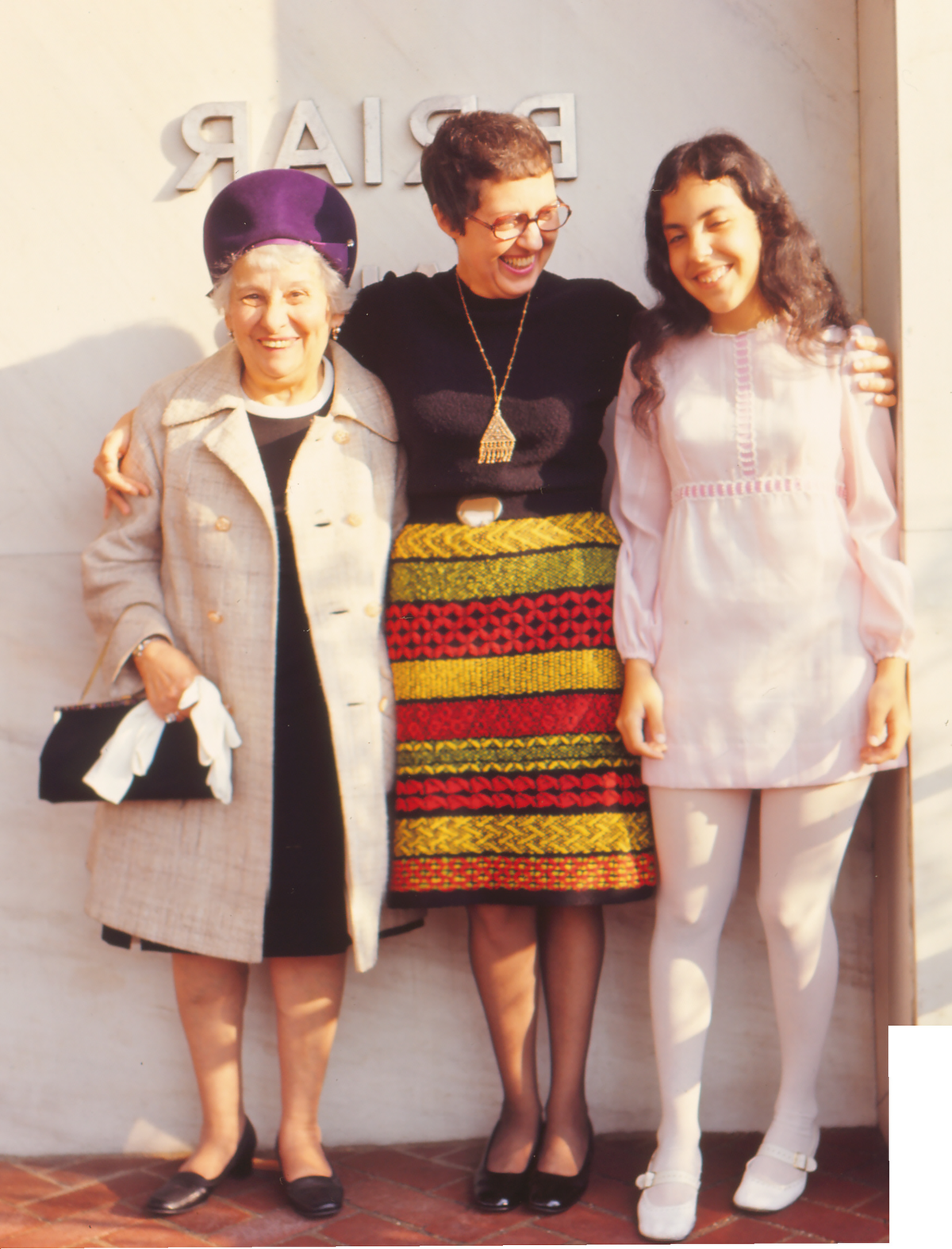 Janet at her Confirmation, with her mother and grandmother, 1971.