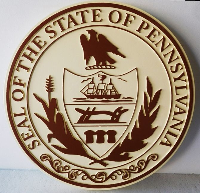 W32425 -  - Carved 2.5-D HDU Plaque of the Great Seal of the State of Pennsylvania