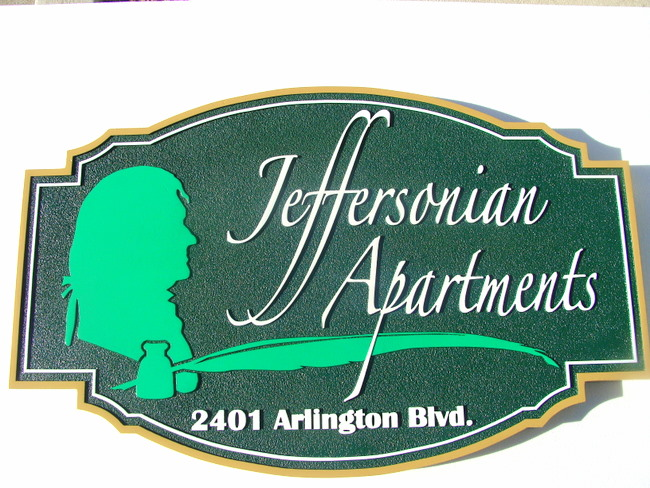 K20095 - HDU Sign for Jeffersonian Apartments with Carved Silhouette of Jefferson, Ink and Quill Pen