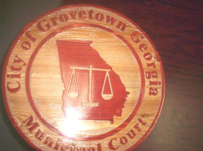 HP-1140 - Carved Plaque of Seal of the Grovetown Municipal Court, Georgia,  Cedar Wood
