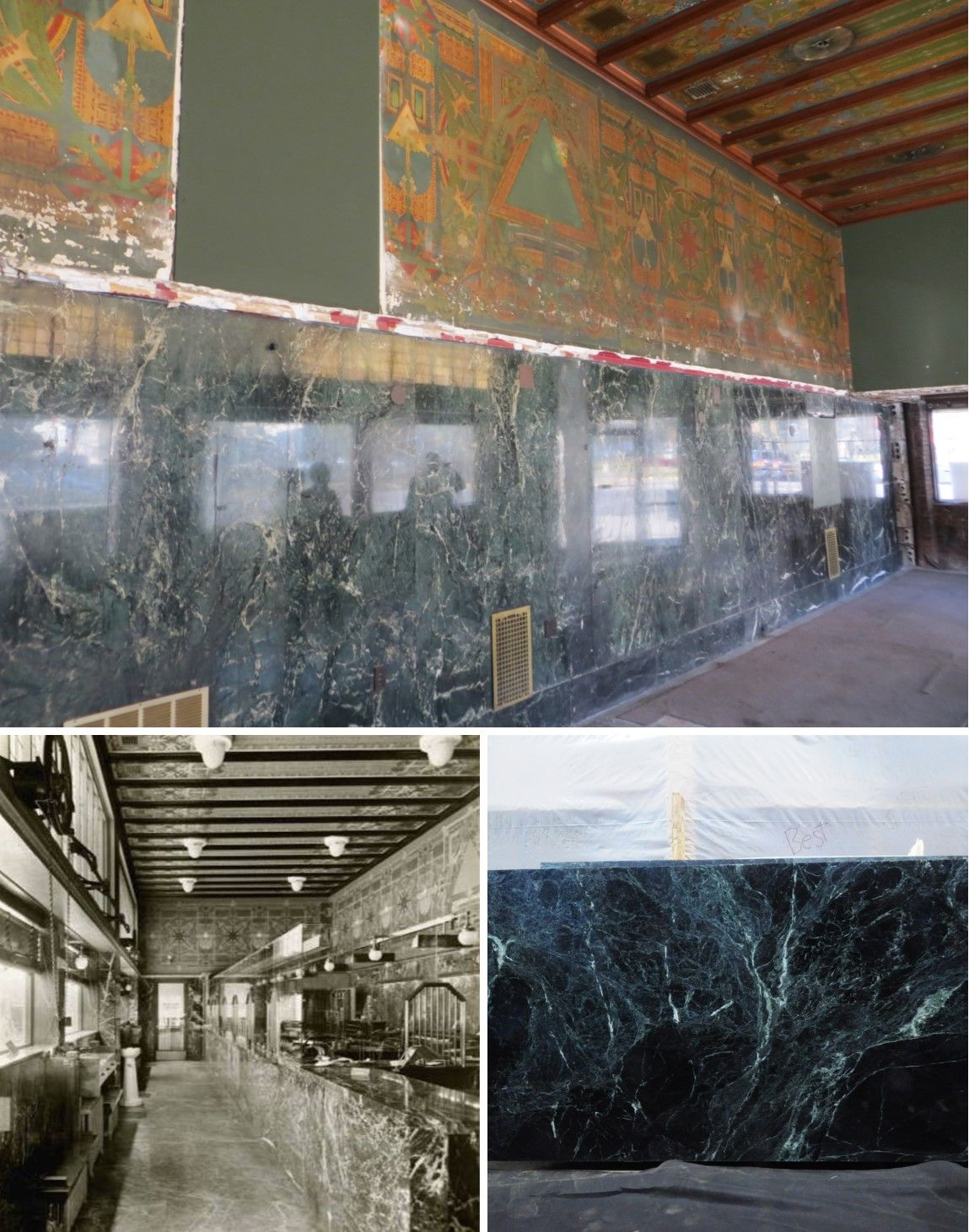 Sullivan Building Update: Vermont Verde Antique Serpentine