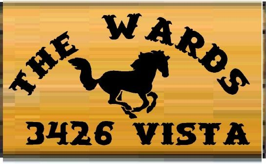M3615 - Design for Carved Wood Name and Address Sign with Carved Galloping Horse (Galleries 23 and 24)