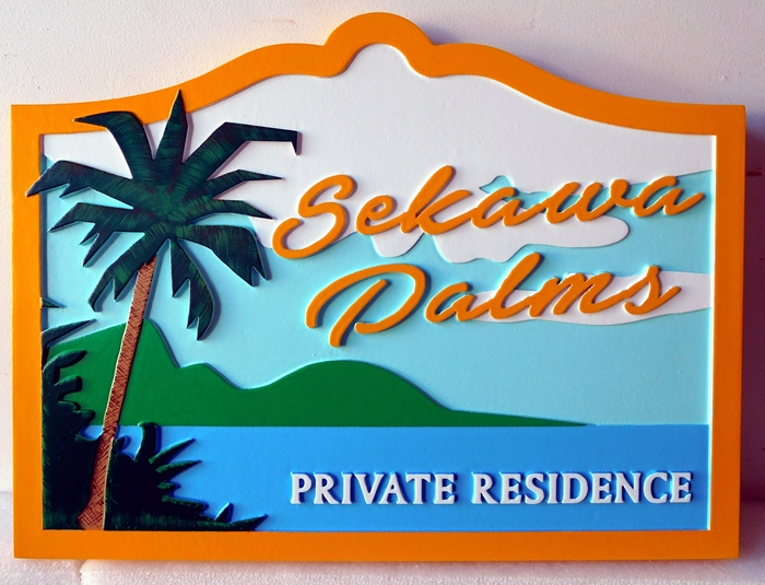 "L21103 - Carved  Coastal Residence Sign ""Sekawa Palms"",  featuring a Palm Tree, Ocean and Mountain  Scene"