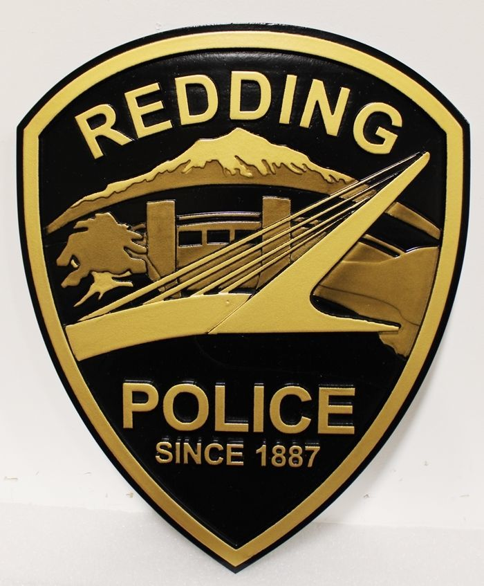 PP-2370 - Carved 2.5-D HDU Wall Plaque Shoulder Patch of the Police Department of Redding, California