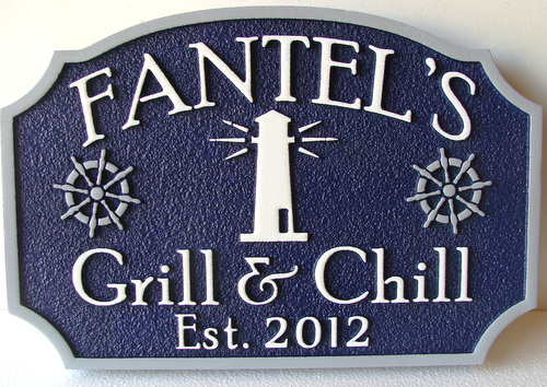 Q25150 - Carved HDU (Wood Also Avail) Waterfront Grill and Chills Restaurant Sign with Carved Lighthouse and Ship's Helms