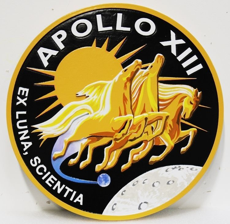 AP-6122 - Carved 2.5-D HDU Artist-Painted Plaque of theSeal of NASA's Apollo XIII Mission