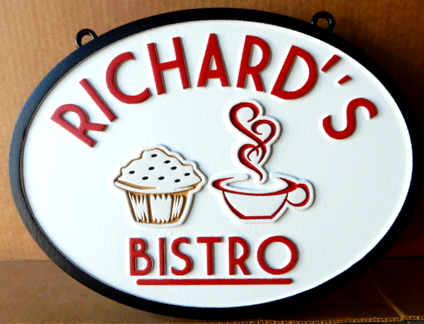 Q25605 - HDU Sign for Bistro restaurant with Muffin and Steaming Cup of Coffee