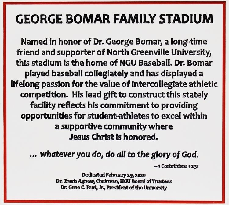 D13175 - Carved  2.5-DHDU  Dedication and Memorial Sign for the George Bomar Family Stadium