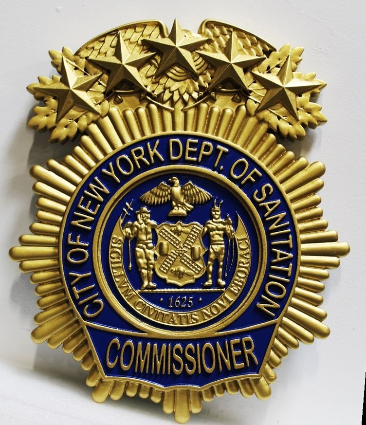 DP-1769 - Carved 3-D HDU Plaque of the Badge of the Commissioner of the Department of Sanitation, New York City
