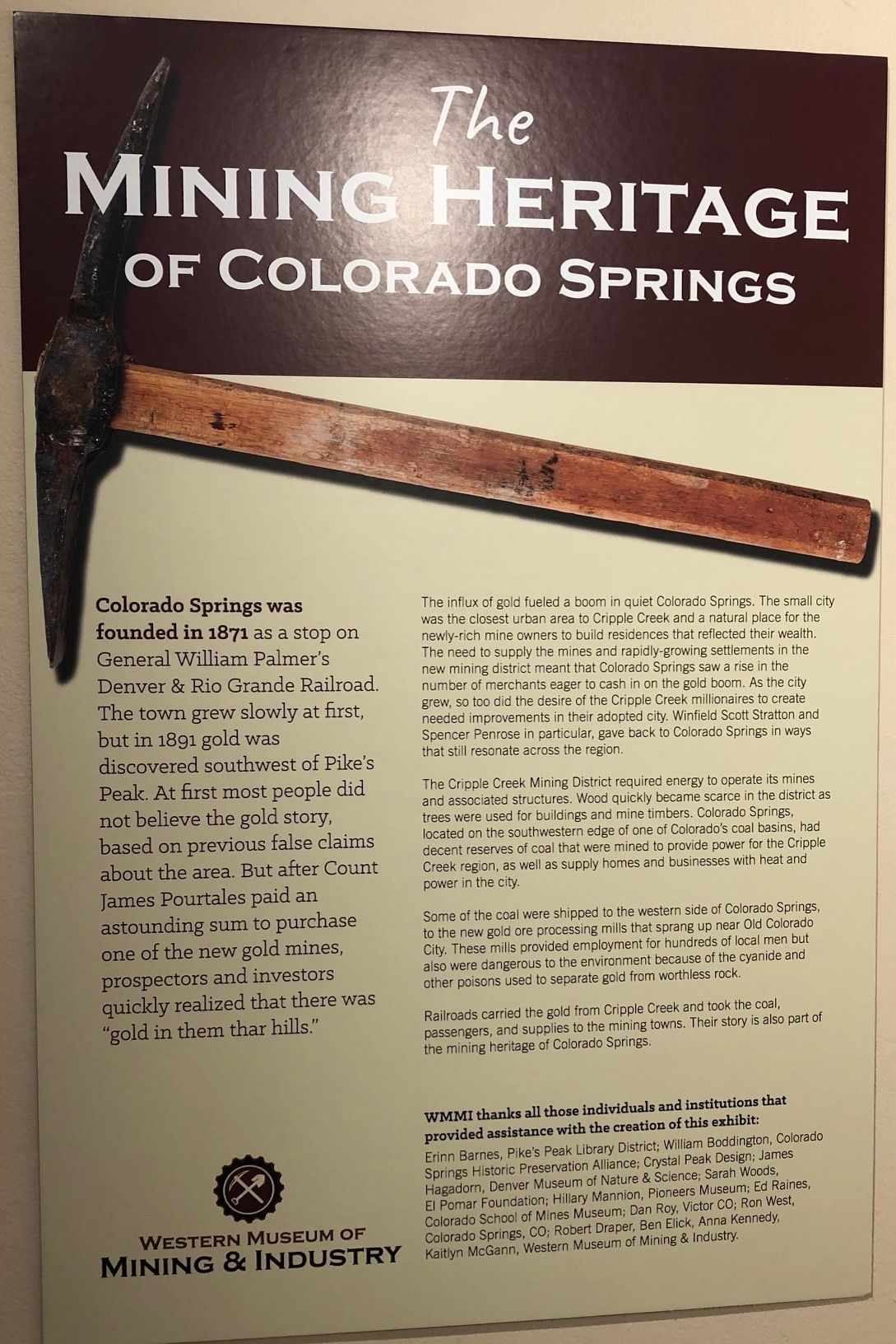"Official Opening of ""Mining Heritage of Colorado Springs"" and ""Mining in America"" Exhibits"