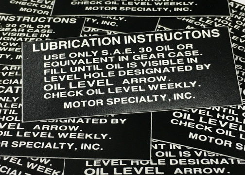 Lubrication Instructions