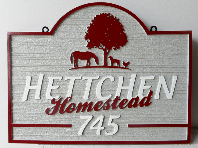"GC731 -Carved HDU  Farm Sign ""The Hetchen Homestead"", with Tree,Horse, Dog and Chicken in Profile"