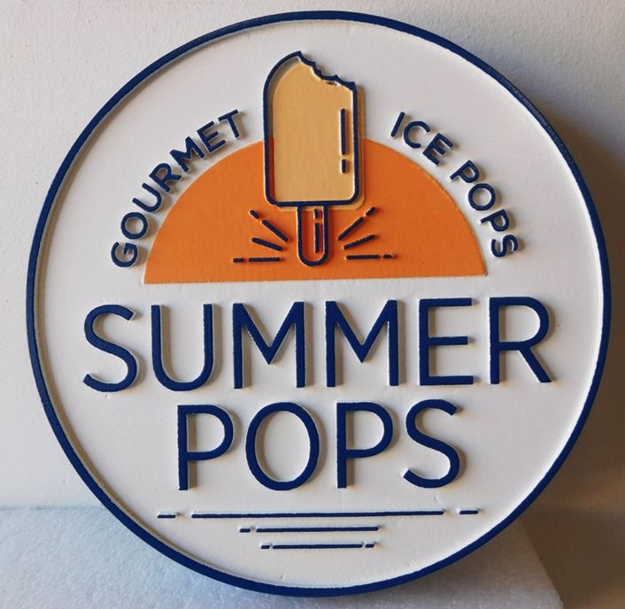 "Q25826 - Carved  2.5D HDU Sign for a ""Summer Pops"" Store, with a Popsicle as Artwork"