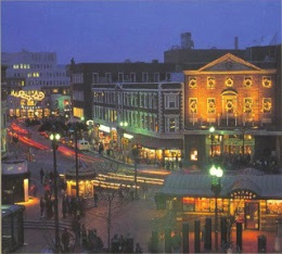 A picture of Lowell, MA at night