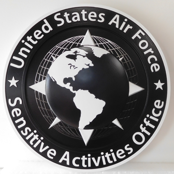 LP-1830 - Carved Plaque of the Seal of the United States Air Force Sensitive Activities Office, 3D Painted Metallic Silver and Black