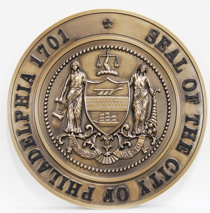 DP-1850 - Carved Plaque of the Seal of Philadelphia, 3-D Bronze-Plated