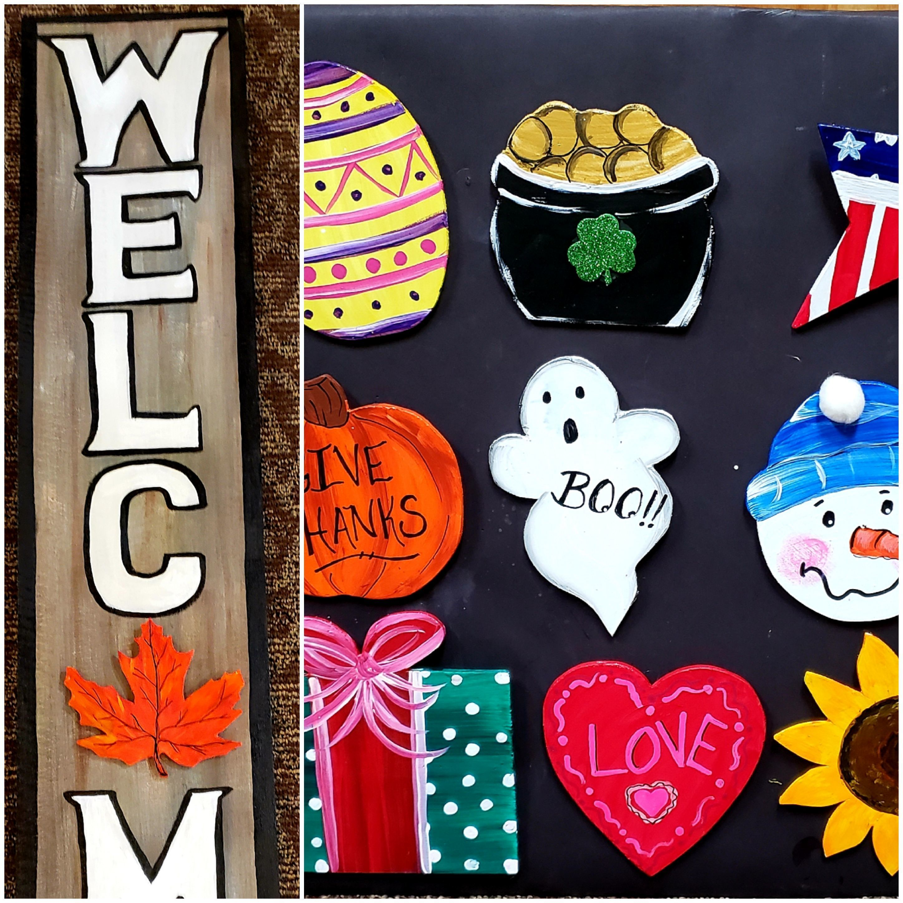 Welcome Sign with Interchangable Seasonal Plaques Art Class