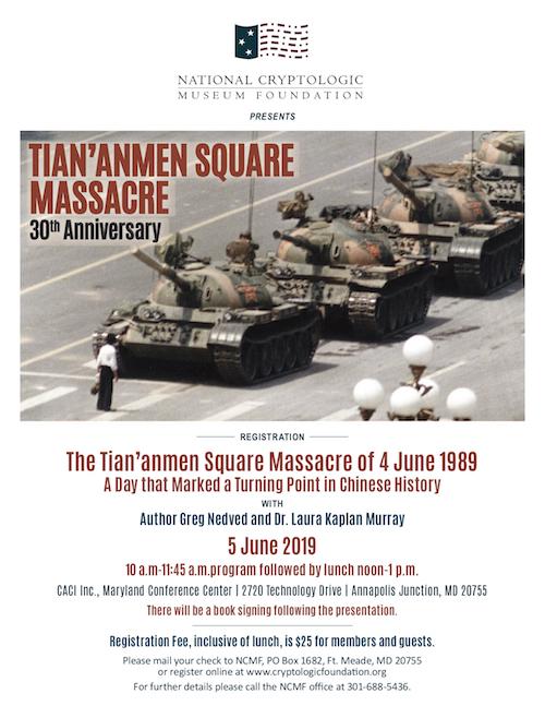 "NCMF 2019 Summer Cryptologic Program: ""The Tian'anmen Square Massacre"""