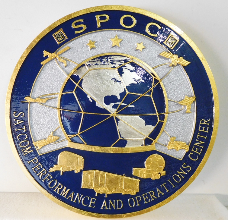 AP-3160 - Carved Plaque of the Seal of the SATCOM Performance and Operations Center (SATCOM), Gold and Silver Gilded
