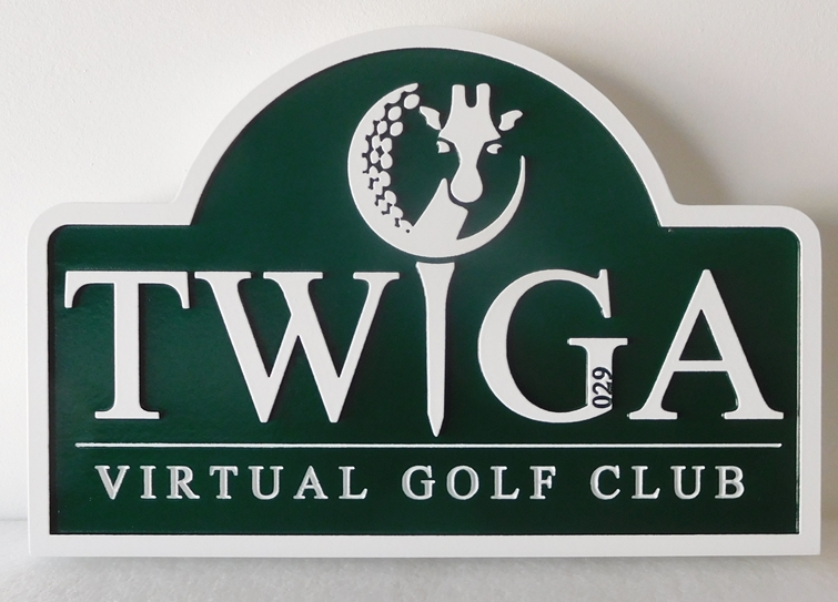 "E14157 - Carved HDU Sign  for the ""TWIGA"" Virtual Golf Club, 2.5-D Raised and Engraved Relief"