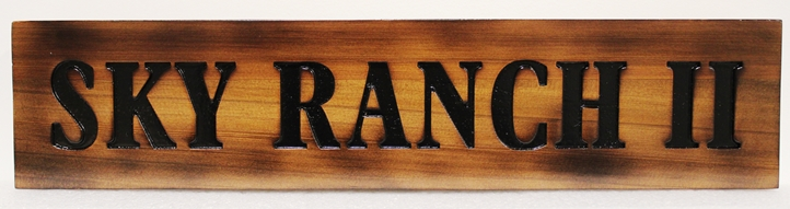 M3701 - Engraved Red Cedar Sign  for  Sky Ranch II , Rustic Sttyle with scorched Edges (Gallery 23)