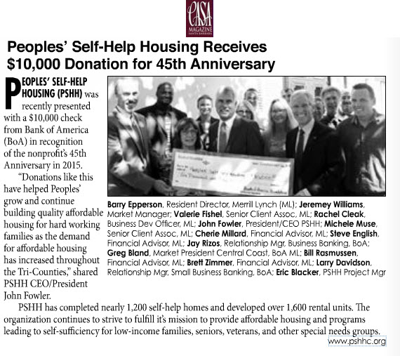 Peoples' Self-Help Housing Receives $10,000 Donation for 45th Anniversary - CASA Magazine