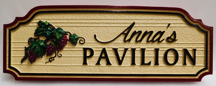 "R27405 - Carved and Sandblasted Wood Grain  HDU Sign for  ""Anna's Pavilion""   with  2.5-D  Grape Cluster , Stylized Text and  Double border"