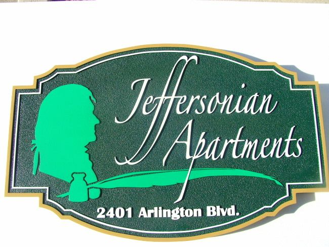 K20098 - HDU Sign for Jeffersonian Apartments with Carved Silhouette of Jefferson, Ink and Quill Pen