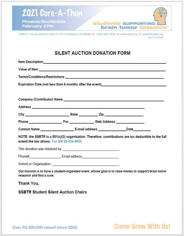 2021 SSBTR Silent Auction Form .....