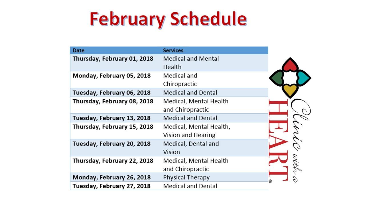 February Clinic Schedule