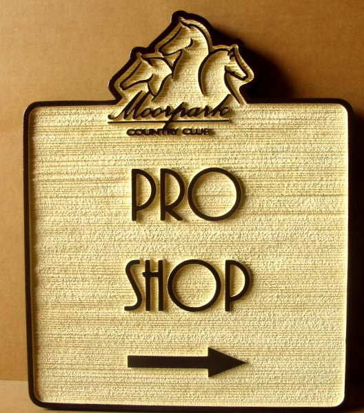 E14223  – Carved  and Sandblasted HDU Wayfinding Signs to the Pro Shop of the Moorpark Country Club.