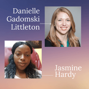Picture of Danielle Gadomski Littleton (white with blond hair) and Jasmine Hardy (black with dark hair)