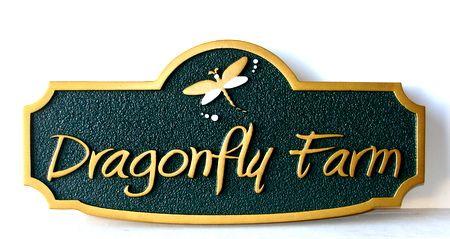 O24645 - Sandblasted HDU Dragonfly Farm Sign