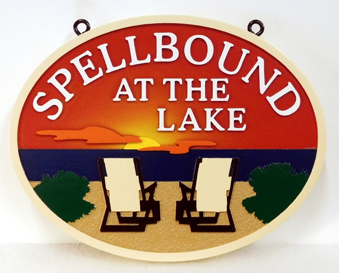 "L21211 - Carved  ""Spellbound at the Lake "" Sign  with Sunset and Two Chairs facing the Sea"