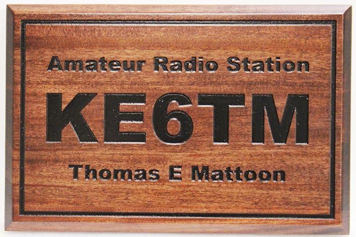 SA28827 - Engraved African Mahogany  Sign  for KE6TM, an Amateur Radio Station