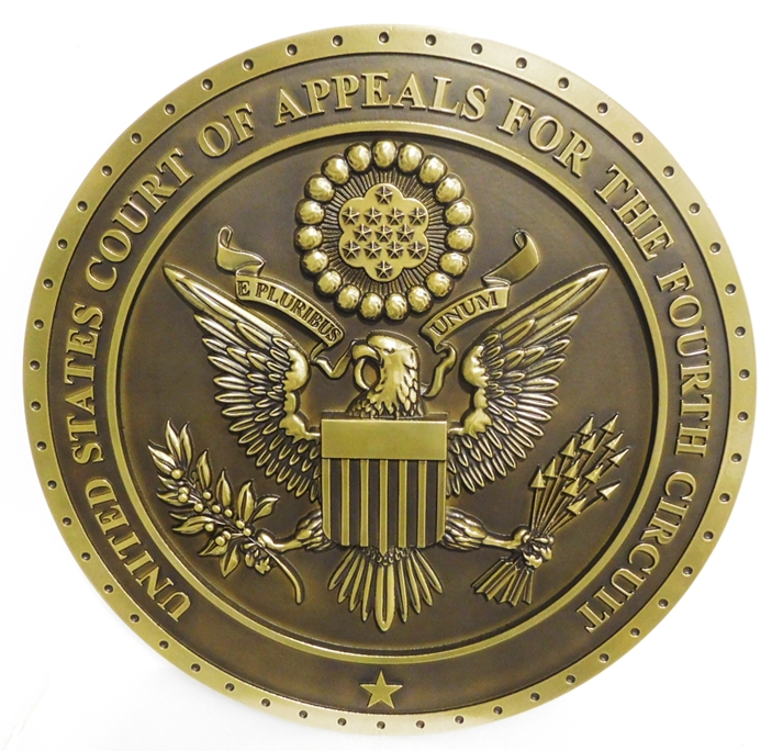 FP-1050 - Carved Plaque of the Seal of the US Court of Appeals, Fourth Circuit, Brass-Plated