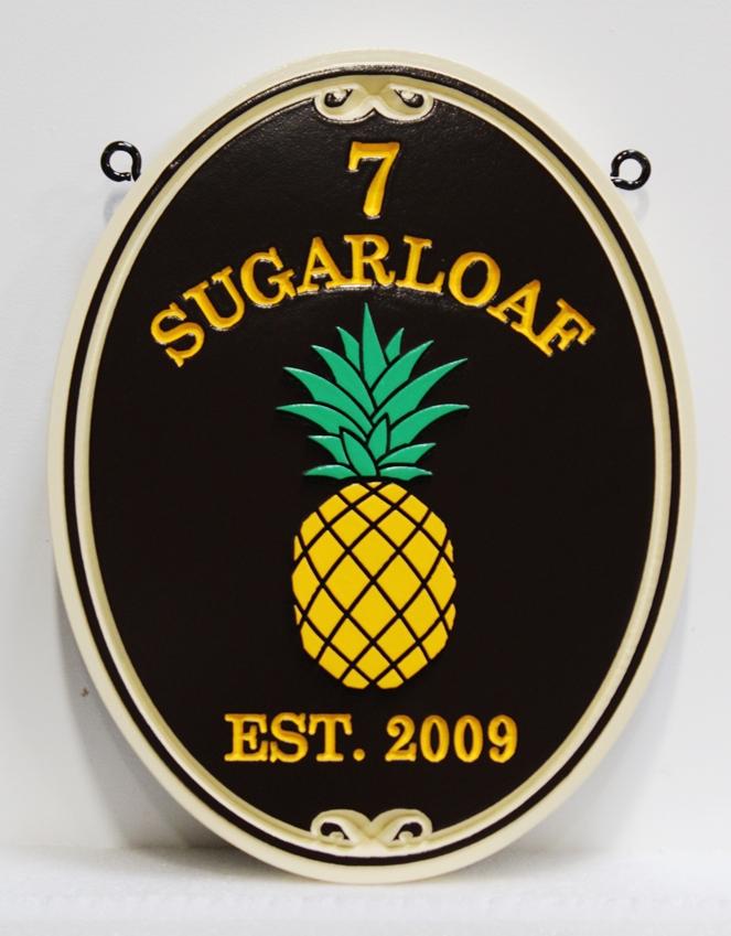 I18460 - Sandblasted Carved Pineapple Address Sign