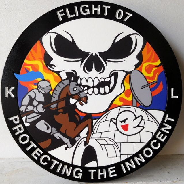 """LP-2620 - Carved Round Plaque of the Crest of Flt 07  """"Protecting the Innocent"""",  Artist Painted"""