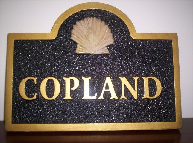 L21526 - Carved  Name Sign with Text and Border in Gold Metallic Paint