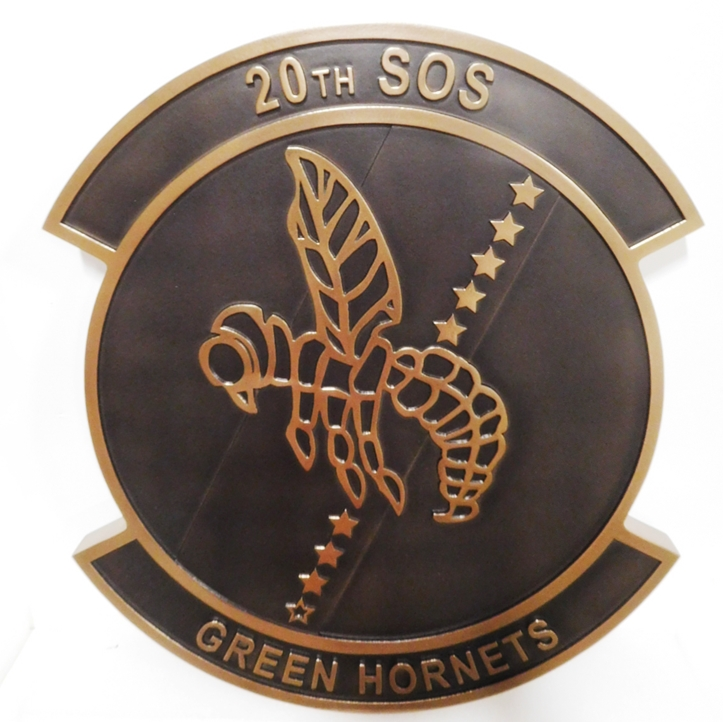 "LP-3670 - Carved Plaque of the Crest of the  20th SOS ""Green Hornets"" , 2.5-D Bronze-plated"